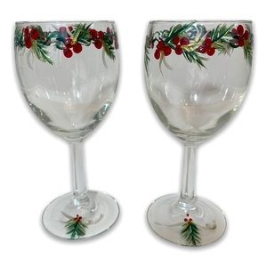 Hand Painted Wine Glasses Christmas set of 2